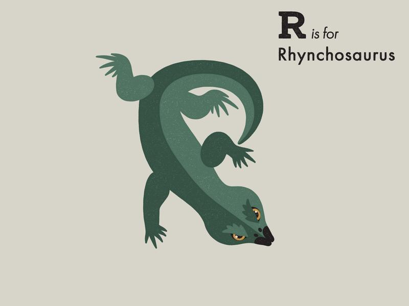 R is for Rhynchosaurus reptile dinosaur alphabet letter extinct animal illustrator adobe illustration vector
