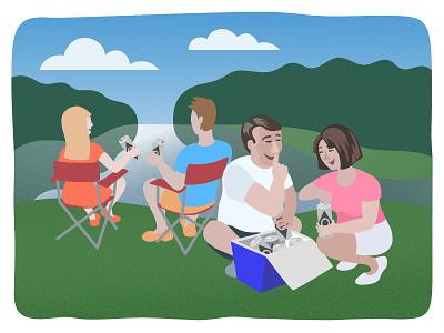 Lake celebrating outdoors family people lake illustrator adobe illustration vector