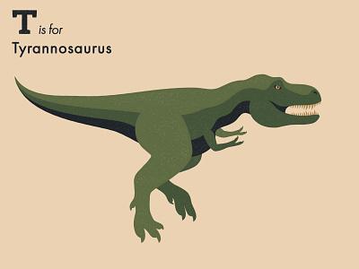 T is for Tyrannosaurus dinosaur alphabet letter extinct animal illustrator adobe illustration vector