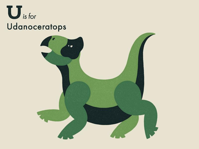 U is for Udanoceratops dinosaur alphabet letter extinct animal illustrator adobe illustration vector