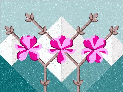 Magnolia nature geometic landscape mountains magnolia flower plant tree illustrator adobe illustration vector