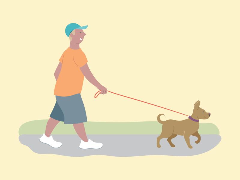 Walking dog animal illustration vector
