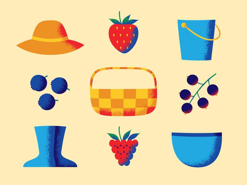 U-Pick Berry Farm bowl bucket hat boots basket raspberry blackcurrant blueberry strawberry berries illustration vector