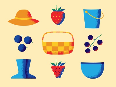 U-Pick Berry Farm bowl bucket hat boots basket raspberry blackcurrant blueberry strawberry berries illustration vector
