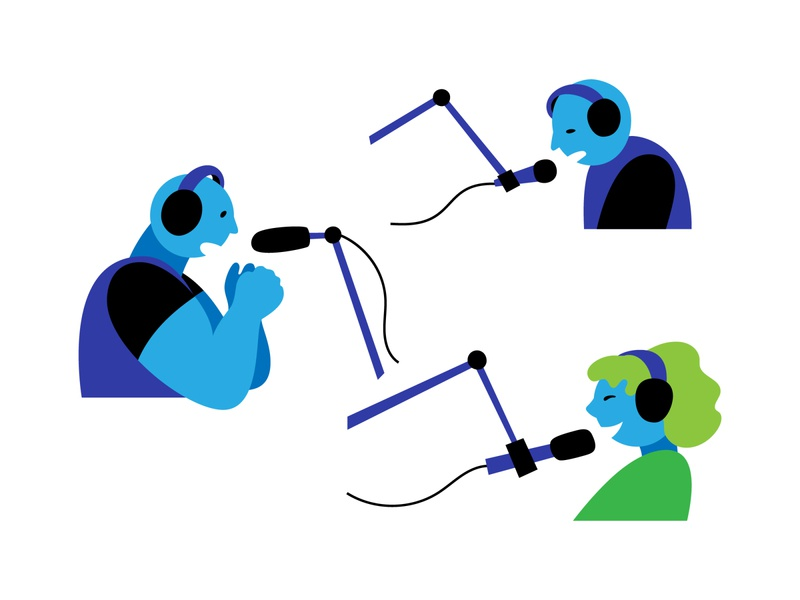Podcasting illustration flat vector podcaster podcasting equipment microphone talking girl woman dude man host isolated people podcast
