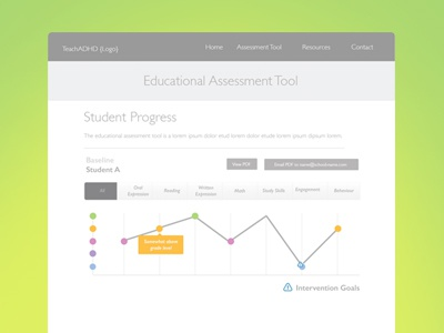 Educational Assessment Wireframe