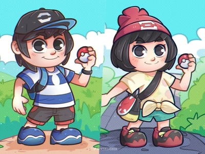 Pokemon Sun and Moon trainers clip studio paint pokemon trainer chibi miksketched cartoon illustration illustration sun and moon fanart pokemon art