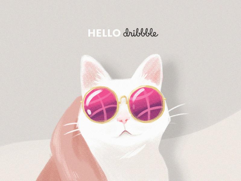 Hello Dribbble cat illustration hello dribble