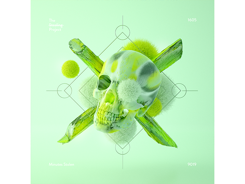 1605 poster everyday design stilllife experimental graphic design the stealing project illustration cinema4d print skull