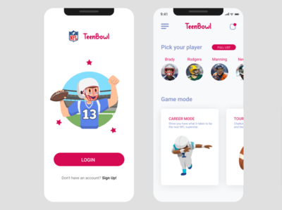 NFL TeenBowl App for #DailyUI