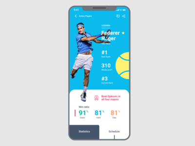 Tennis Legends App for the #DailyUI Challenge