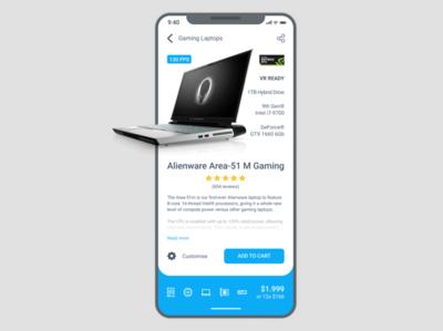 Alienware App design for #DailyUI Challenge [23]