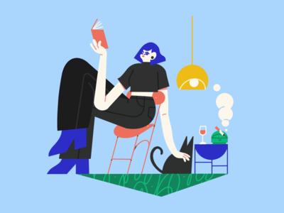 indoor spring girl ipadpro procreate female vector scene texture character illustrator illustration
