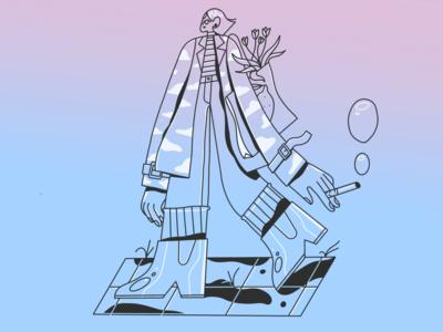 evening walk textures ipadpro procreate female scene texture character illustrator brush illustration