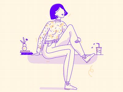 Hanging 🌴 girls brush texture female illustration character vector illustrator scene