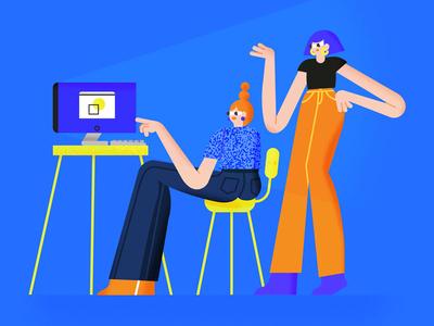 Werk interface illustration art direction design ladies desk working illustration character illustration