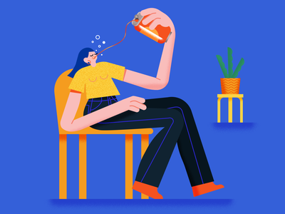 Drink procreate female texture scene vector character illustrator illustration