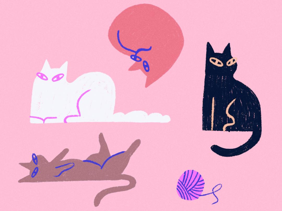 cats are friends simple lines ipad textures ipadpro procreate brush female texture scene vector character illustrator illustration cats