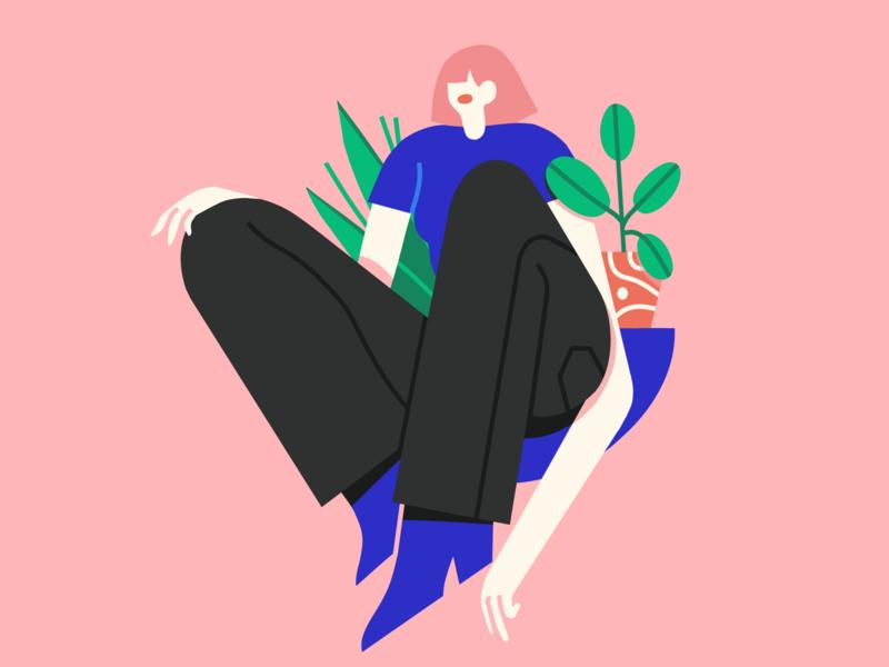 plants are friends ipadpro procreate brush female texture scene character illustrator illustration