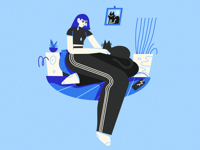 a grey day in summer design blue ipad girl textures procreate female scene character texture illustrator illustration