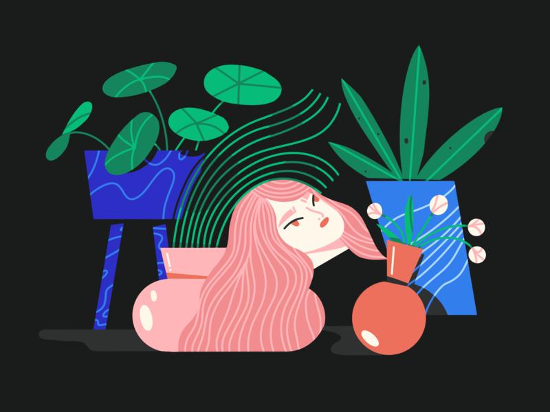 overgrown situation ipad girl textures procreate vector texture scene character illustrator illustration