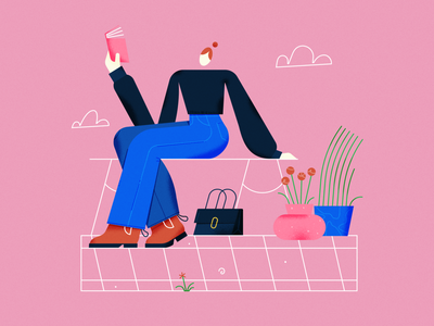 take a break, read a book character ipadpro vector female scene texture illustrator illustration