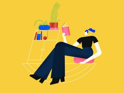 take a rest ipad textures ipadpro female vector scene texture illustrator character illustration