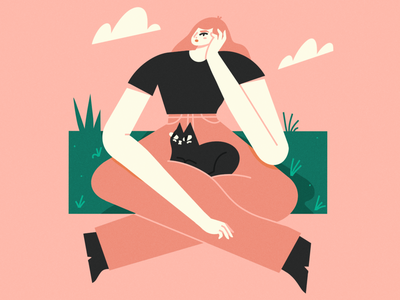 sit with me brush procreate cat lady cats cat texture scene character illustrator illustration