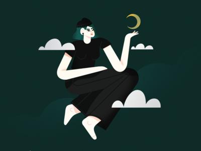 witchy vibes ipadpro procreate brush female vector scene character illustrator illustration