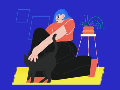 cuddles cat procreate brush female vector scene texture character illustrator illustration