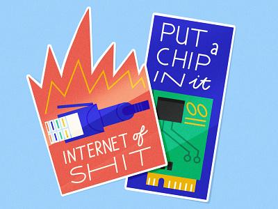 Internet of Shit chip shit internet flames stickers sticker tech computer