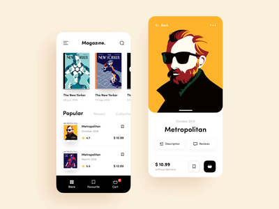 Magazine Store application clean design ux design ux ui store animation video magazine mobile interface app