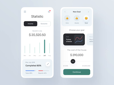 Statistic and Setting Goals pages for Banking app video ux design ui ux statistics product design prepaid payment mobile management app interface fintech finance app design system chart calendar bank account balance movement animation
