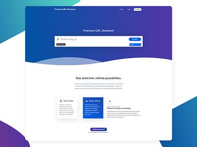 Premium URL Shortener Home Page application website ui bitly shortener landing page gradients saas url shortener