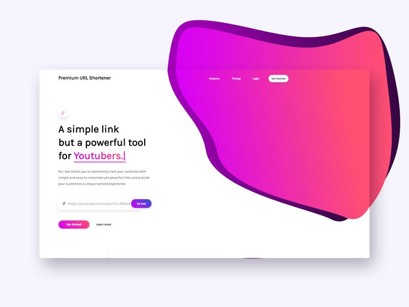 Saas Theme for Premium URL Shortener app shortener landing page gradients bitly design url shortener branding saas ux