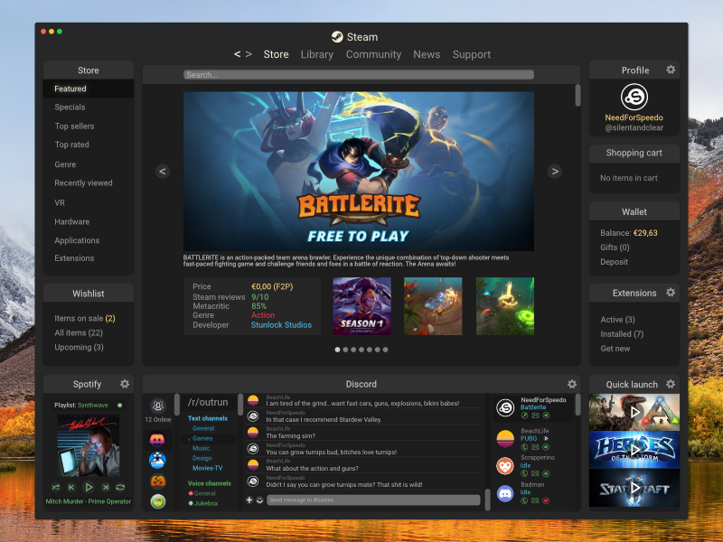 Steam redesign by Kristoffer Dahlstrand on Dribbble