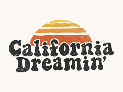 California Dreamin' badge minimal tee merch design 60s 70s retro sunset california logo lettering design vintage typography branding