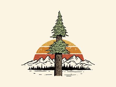 Redwood tree illustration for Woodline Apparel retro drawing forest horizon sunset pinetree tree redwood mountain california camp apparel design outdoor illustration vintage branding