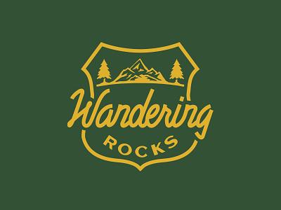 Wandering Rocks! patch badges script nps national parks logo badgedesign wander mountain badge lettering design outdoor illustration vintage typography branding