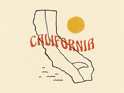 Surf California branding typography t-shirt design surfing graphic design retro california surf apparel lettering design illustration vintage