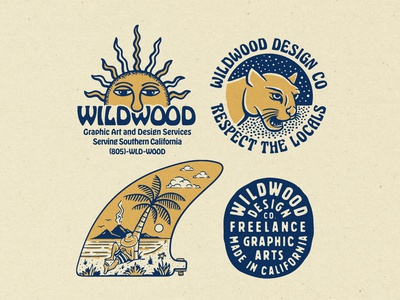 Wildwood Design Co. retro apparel nature illustration vintage nature surf sun california lettering badge logo typography branding