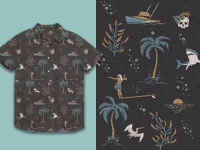 Uncharted Waters apparel design surface design california hand drawn vintage branding illustration ocean surf pattern apparel
