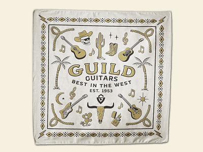 Guild Guitars Bandana Design bandana art illustration typography print folk bluegrass rock blues guitars country music country western american retro pattern bandana skull desert branding lettering