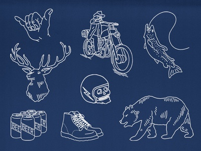 Select illustrations from the INR California Map Bandana