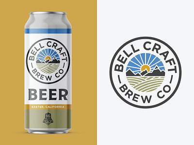 Bell Craft Brew Co badge design craft brewery brewery logo packaging mountain sunrise illustration outdoor branding logo beer branding craft beer beer