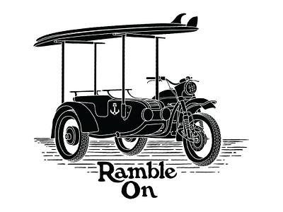 Ramble On typography outdoor branding line art surf vintage ural motorcycle illustration