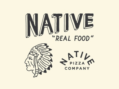 Native Pizza feathers chief native american retro design california illustration vintage logotype typography branding logo
