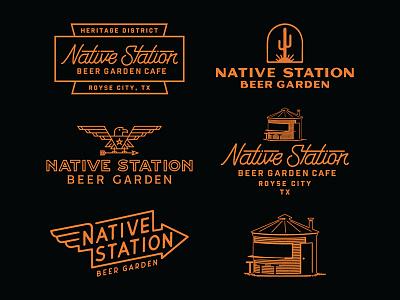 Native Station Beer Garden Cafe arrow cactus eagle texas vintage logo graphic designer art direction badge lettering illustration design typography branding
