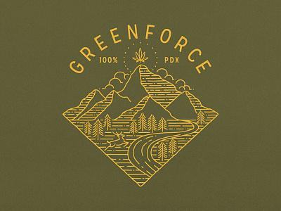 Greenforce apparel design oregon cannabis logo monoline drawing cannabis cannabis branding logo apparel outdoor illustration branding