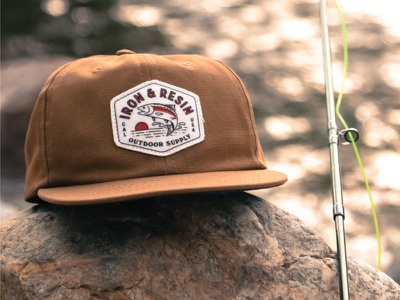 Rigger Hat camp apparel design badge design vintage typography fish branding fish logo apparel hat patch western sunset outdoor trout fly fishing
